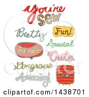 Clipart Of Sewing Related Text Designs Royalty Free Vector Illustration