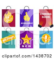 Clipart Of Shopping Bags Labeled With Text Royalty Free Vector Illustration
