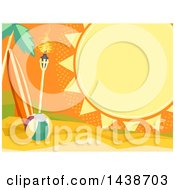 Clipart Of A Summer Sun Frame With Text Space Over A Tropical Beach With A Surfboard Tiki Torch And Ball Royalty Free Vector Illustration by BNP Design Studio