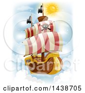 Clipart Of A Flying Pirate Ship In The Sky Royalty Free Vector Illustration