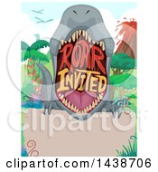 Clipart Of A Party Invitation With A Dinosaur Mouth And Roar Invited Text Royalty Free Vector Illustration