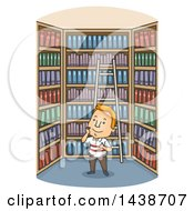 Cartoon Happy White Man In A Library