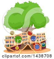 Clipart Of A Library Tree House Royalty Free Vector Illustration by BNP Design Studio