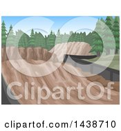 Clipart Of Motorcross Race Tracks With Skid Marks And Evergreen Trees Royalty Free Vector Illustration