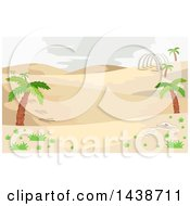 Clipart Of A Prehistoric Desert Landscape With Palm Trees And Dinosaur Bones Royalty Free Vector Illustration