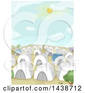 Clipart Of A Refugee Camp With Tents In A Desert Royalty Free Vector Illustration