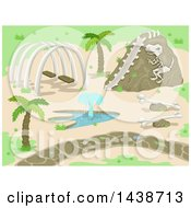 Clipart Of A Prehistoric Park With Dinosaur Bones And A Fountain Royalty Free Vector Illustration by BNP Design Studio
