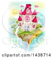Clipart Of A Floating Fairy Tale Islandw Ith A Castle Waterfall And Rainbow Royalty Free Vector Illustration by BNP Design Studio