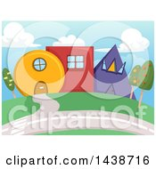 Clipart Of Geometric Houses Royalty Free Vector Illustration
