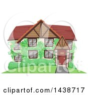Clipart Of A Cute Cottage With Vines Royalty Free Vector Illustration