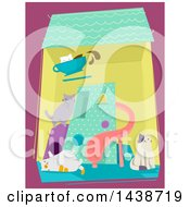Clipart Of A Cat Cafe With Playful Kitties Inside Royalty Free Vector Illustration
