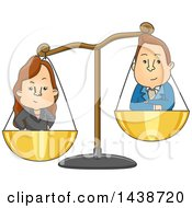 Clipart Of A Cartoon Gender Conflict Graphic Of A Man And Woman In Scales Royalty Free Vector Illustration