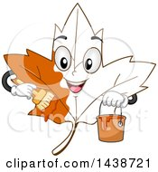 Clipart Of A Happy Maple Leaf Character Painting Itself Autumn Orange Royalty Free Vector Illustration