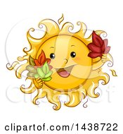 Clipart Of A Happy Sun Mascot Holding Autumn Leaves Royalty Free Vector Illustration