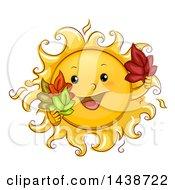 Happy Sun Mascot Holding Autumn Leaves