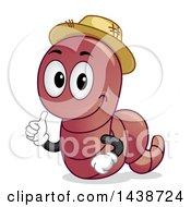 Happy Earthworm Mascot Giving A Thumb Up