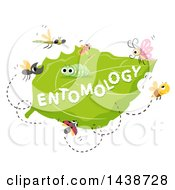 Clipart Of The Word Entomology Written On A Leaf Surrounded By Insects Royalty Free Vector Illustration by BNP Design Studio