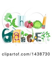 Clipart Of The Phrase School Garden Decorated With Different Vegetables Royalty Free Vector Illustration