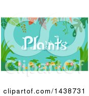Border Of Rainforest Foliage And Plants Text On Blue