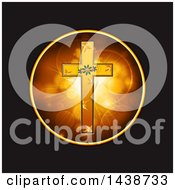 Clipart Of A Festive Gold Cross With Christmas Holly And Stars In A Circle Of Flares On Black Royalty Free Vector Illustration by elaineitalia