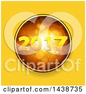 Clipart Of A Golden New Year 2017 Design Inside A Circle Of Flares Over Yellow Royalty Free Vector Illustration