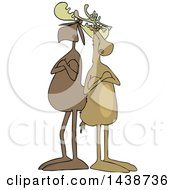Cartoon Moose And Reindeer With Folded Arms Standing Back To Back