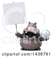 3d Henry Hippo Character Holding A Golf Ball On A White Background