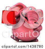 Clipart Of A 3d Pink Elephant Character Holding A Shopping Or Gift Bag On A White Background Royalty Free Illustration