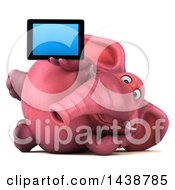 3d Pink Elephant Character Holding A Tablet Computer On A White Background