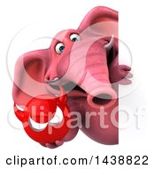 Clipart Of A 3d Pink Elephant Character Holding A Devil Head On A White Background Royalty Free Illustration