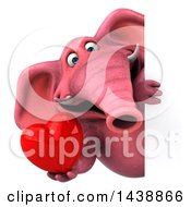 Poster, Art Print Of 3d Pink Elephant Character Holding A Heart On A White Background