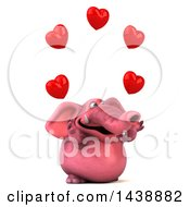 Poster, Art Print Of 3d Pink Elephant Character Juggling Hearts On A White Background