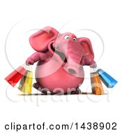 3d Pink Elephant Character Carrying Shopping Bags On A White Background