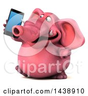 3d Pink Elephant Character Holding A Smart Phone On A White Background