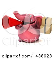 3d Pink Elephant Character Holding Boxes On A White Background