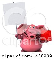 3d Pink Elephant Character Holding A Shopping Or Gift Bag On A White Background
