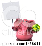 Clipart Of A 3d Pink Elephant Character Holding A Green Earth Globe On A White Background Royalty Free Illustration