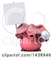 3d Pink Elephant Character Holding A Golf Ball On A White Background