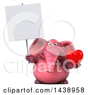 Clipart Of A 3d Pink Elephant Character Holding A Heart On A White Background Royalty Free Illustration