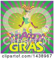 Clipart Of A Mardi Gras Jester Woman Over Text On A Burst Royalty Free Vector Illustration