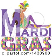 Mardi Gras Woman Wearing A Mask Over Text