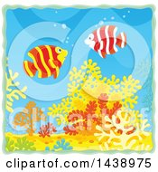 Clipart Of Banded Angelfish Over Corals Royalty Free Vector Illustration