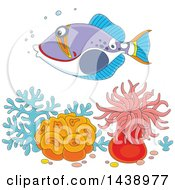 Clipart Of A Cartoon Humu Picasso Triggerfish Swimming Over Corals And Anemones Royalty Free Vector Illustration