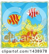 Cartoon Happy Banded Angelfish Over Corals