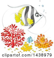 Clipart Of A Cartoon Black White And Yellow Angelfish Over Corals Royalty Free Vector Illustration