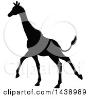 Clipart Of A Black Silhouetted Giraffe Running Royalty Free Vector Illustration by AtStockIllustration