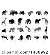 Black Silhouetted African Animals Elephants Rhinos Lions And Giraffes