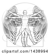 Clipart Of A Black And White Leonard Da Vinci Vitruvian Man With Angel Wings Royalty Free Vector Illustration by AtStockIllustration