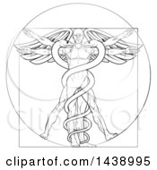 Clipart Of A Black And White Leonard Da Vinci Vitruvian Man With Wings And A Doubl Helix Snake Caduceu Royalty Free Vector Illustration