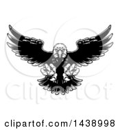 Black And White Swooping Bald Eagle With Talons Extended